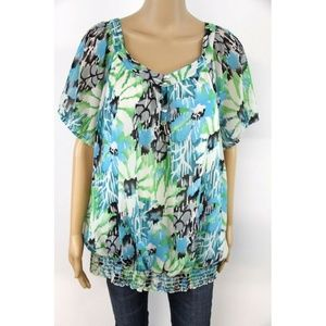 Lane Bryant Women's Blouse Top White Green Gray